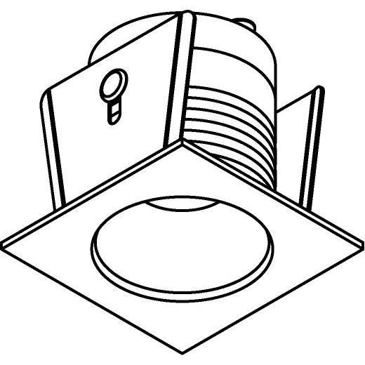 Drawing of ZIALEDMC.S2/.. - Ø40 ZIA LED M, inbouw plafond- en wandlicht - vierkant - vast - met led - zonder LED driver
