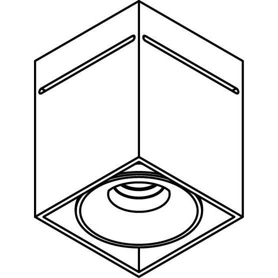 Drawing of 5226/.. - FLOU, opbouw plafondverlichting - vierkant - vast - down - met led