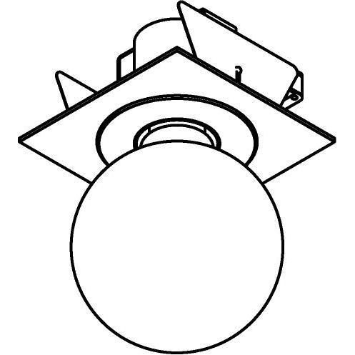 Drawing of MAESTRO.SB.E27/.. - Ø80, inbouwspot - vierkant - vast - met E27 fitting
