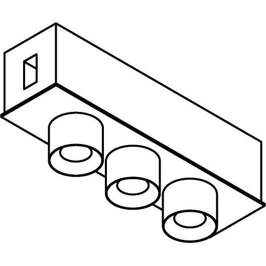 Drawing of 8233/.. - STILETTO, rond - Verbindingsdoos met 3 opbouwspots Zialed - met LED driver