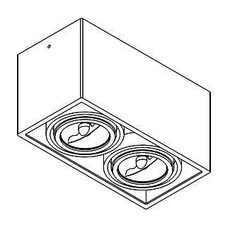 Drawing of 1876.GU10/.. - SPINNER X AR70 GU10, plafonnier apparent - orientable - down