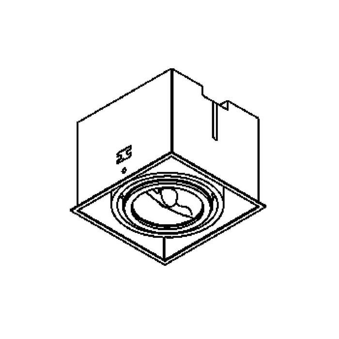 Drawing of 1871.GU10/.. - SPINNER X AR70 GU10, inbouw plafondverlichting - vierkant - richtbaar