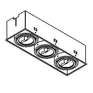 Drawing of 1873.GU10/.. - SPINNER X AR70 GU10, inbouw plafondverlichting - vierkant - richtbaar