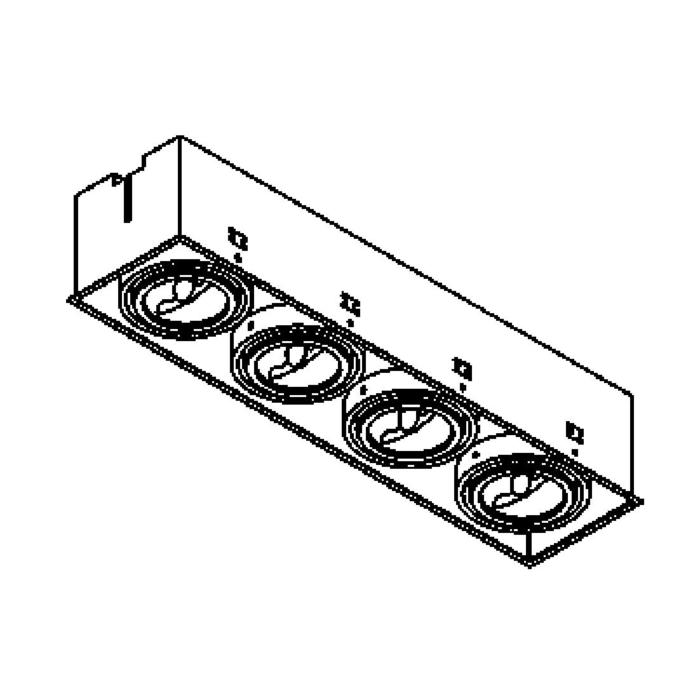 Drawing of 1874.GU10/.. - SPINNER X AR70 GU10, inbouw plafondverlichting - vierkant - richtbaar