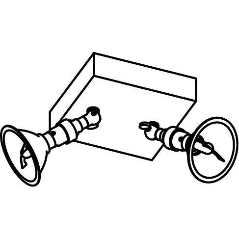 Drawing of 5049/.. - PULA, opbouw plafondverlichting - richtbaar - met 2x spot AR70 op kniegewricht - zonder transfo