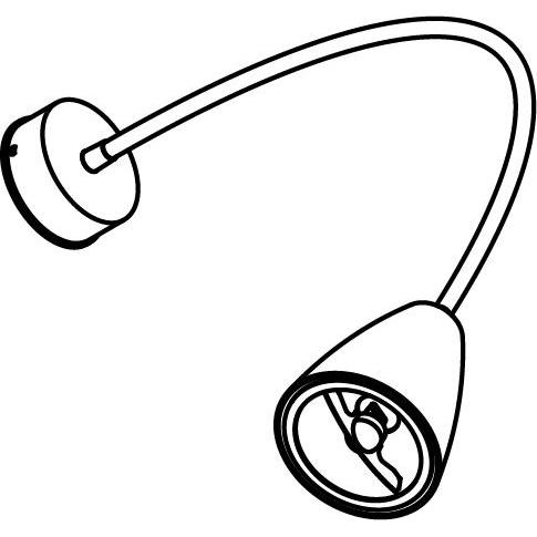 Drawing of 1962.ES50/.. - VOLTA FLEX, opbouwspot met flexibele arm - rond - richtbaar - zonder schakelaar