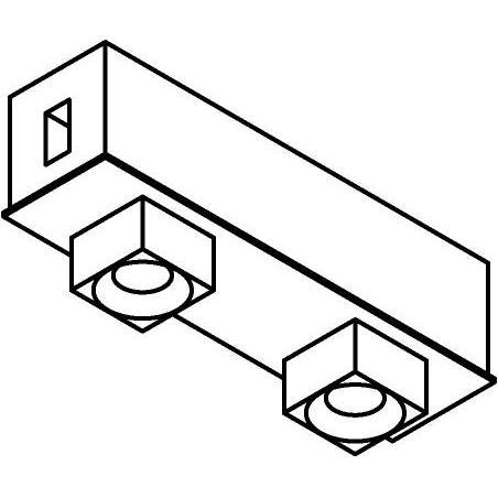 Drawing of 8107/.. - STILETTO, vierkant - Afdekplaat met 2 opbouwspots Zialed - met LED driver