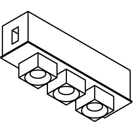 Drawing of 8109/.. - STILETTO, vierkant - Verbindingsdoos met 3 opbouwspots Zialed - met LED driver