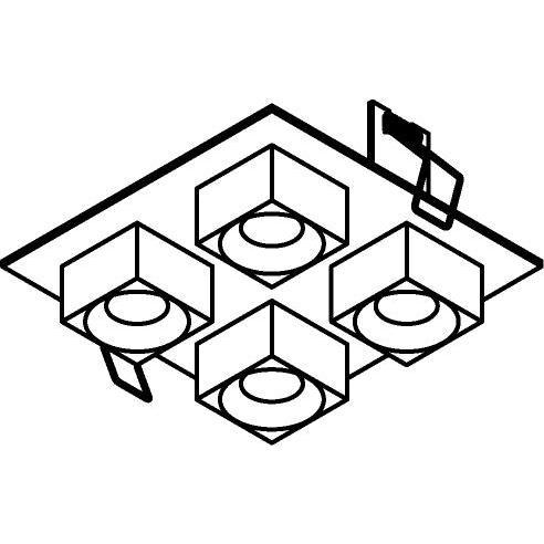 Drawing of 8374/.. - STELLA IN, half in- en opbouw spot - vierkant - vast - met vierkante Zia Led - zonder LED driver