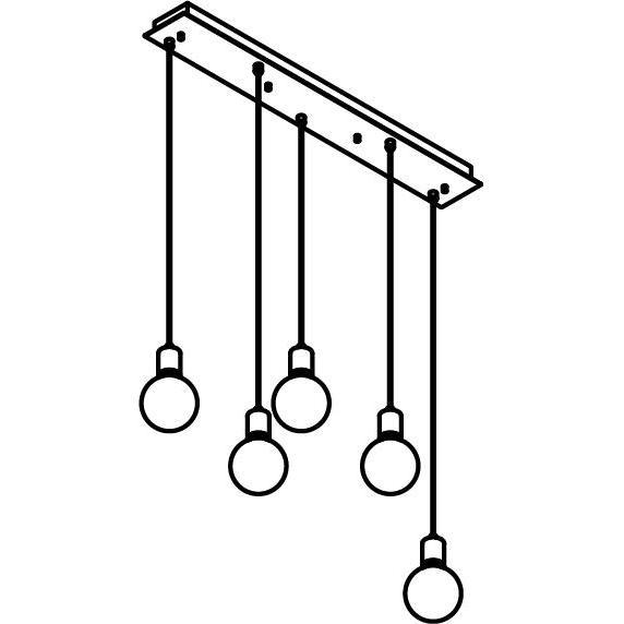 Drawing of 5067.5/.. - MAESTRO, hanglamp - balk 900mm - met 5x kabel 1m