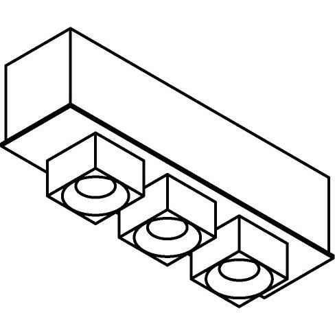 Drawing of 8344/.. - STELLA, opbouw plafondverlichting - vast - met vierkante Zia Led - met LED driver