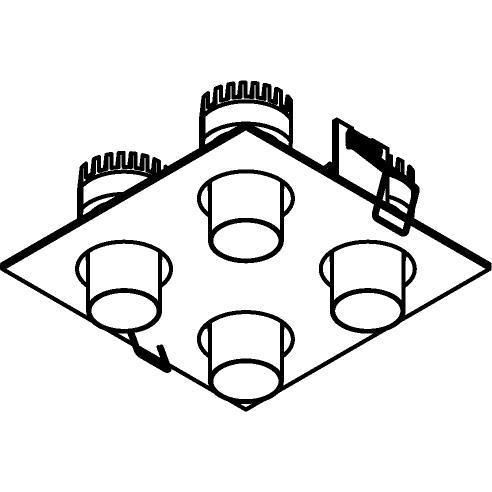 Drawing of 8380/.. - STELLA IN, half in- en opbouw spot - vierkant - richtbaar - met ronde Zia Led - zonder LED driver