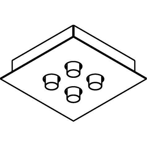 Drawing of 8345/.. - STELLA, opbouw plafondverlichting - richtbaar - met 4 ronde inbouwspots - met LED driver