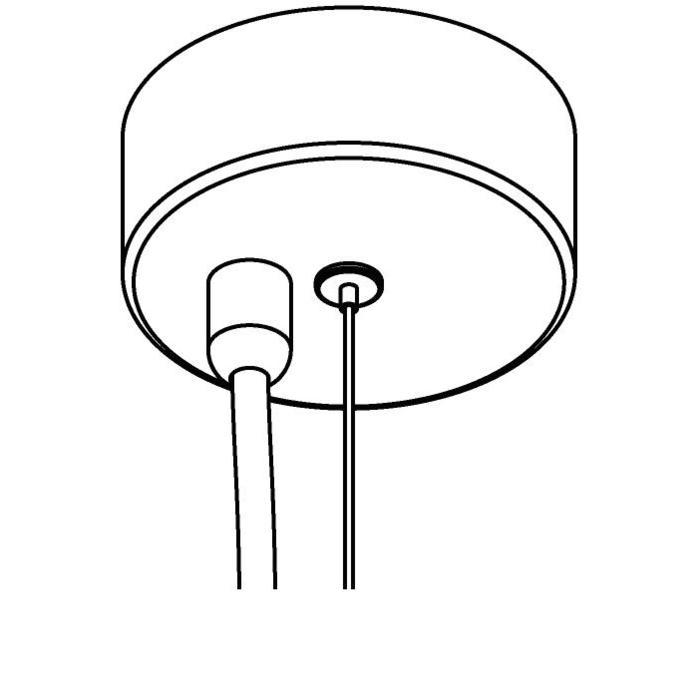 Drawing of 073/.. - ROSETTE for textile cable, opbouwrozet - verbindingsdoos met trekontlasting voor 1 textielkabel + staalkabel 2,25m met hoogteregelaar