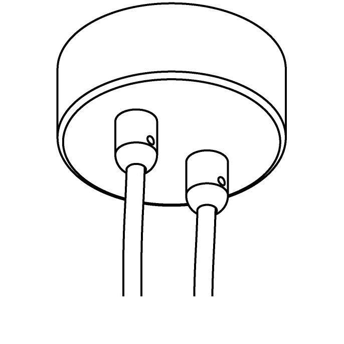 Drawing of 073.2/.. - ROSETTE for textile cable, opbouwrozet - verbindingsdoos met trekontlastingen voor 2 textielkabels