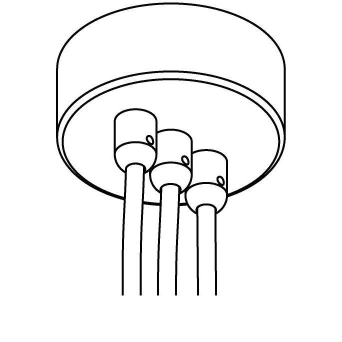 Drawing of 073.3/.. - ROSETTE for textile cable, opbouwrozet - verbindingsdoos met trekontlastingen voor 3 textielkabels