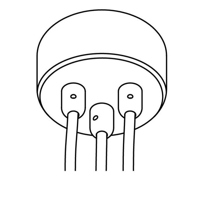 Drawing of 073B.3/.. - ROSETTE for textile cable, opbouwrozet - verbindingsdoos met trekontlastingen voor 3 textielkabels