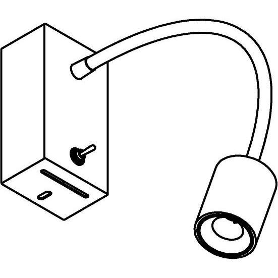 Drawing of 1116.300/.. - FLEX LITTLE JAMES, opbouwspot met flexibele arm - richtbaar - met schakelaar - met LED driver