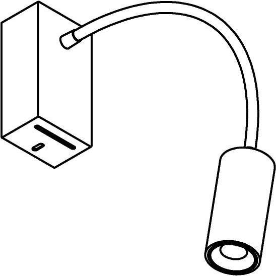 Drawing of 1126.300/.. - FLEX LITTLE JACOB, opbouwspot met flexibele arm - richtbaar - zonder schakelaar - met LED driver