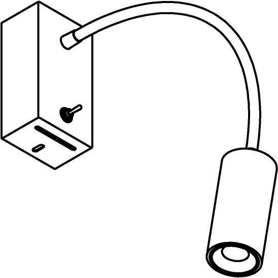 Drawing of 1127.300/.. - FLEX LITTLE JACOB, opbouwspot met flexibele arm - richtbaar - met schakelaar - met LED driver