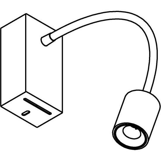 Drawing of 1128.300/.. - FLEX LITTLE JAMES, opbouwspot met flexibele arm - richtbaar - zonder schakelaar - met LED driver