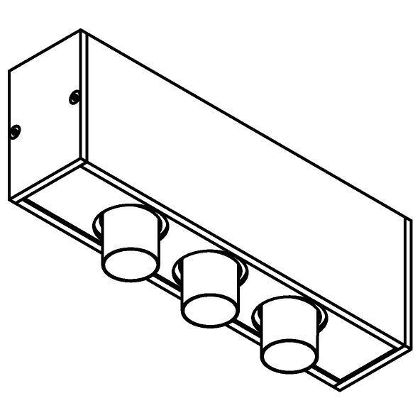 Drawing of 8349/.. - STELLA, vierkant - vast - met 3 ronde inbouwspots - met LED driver