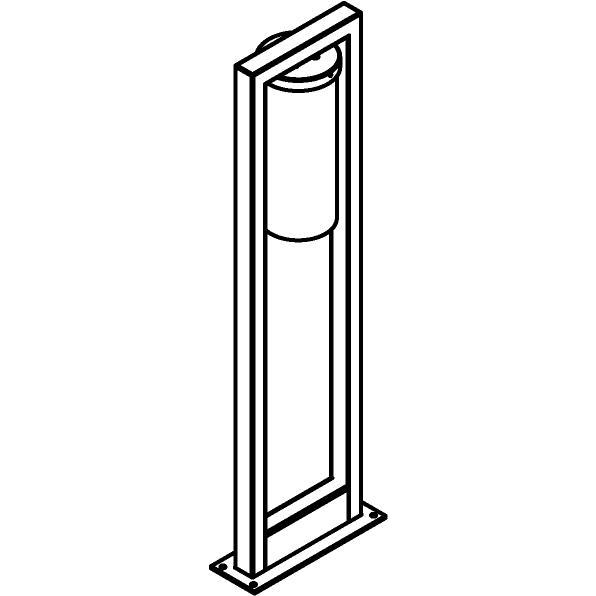 Drawing of T1152/.. - POLINA, bollard with fixation plate - glass H320