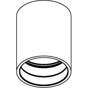 Drawing of E-TUBE.100/.. - Ø80-82 ECS - BUILT UP, plafondverlichting voor inbouwcassette ECS - rond - afzonderlijk te bestellen