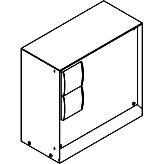 Drawing of T1188SP/.. - CONTROL BOX, Connecterende zuil - behuizing met 2 zwarte stopcontacten NIKO - ontvanger - draadloze zender - wandzender