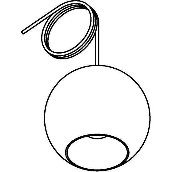 Drawing of 4975.C.E27/.. - MOBY SILVER, hanglamp - met 2m textielkabel en trekontlasting aan fitting