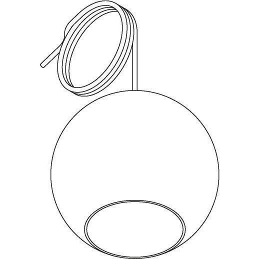 Drawing of 5087.C.E27/.. - MOBY TRANSPARANT, suspension  - avec 2m de câble textile et arrêt de câble à la douille