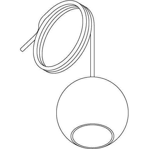 Drawing of 5089.A.E14/.. - MOBY TRANSPARANT, hanglamp - met 2m textielkabel en trekontlasting aan fitting