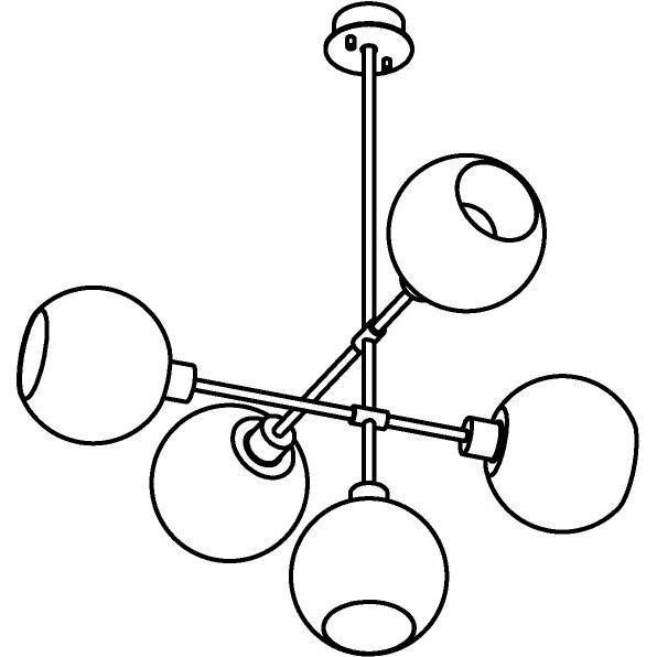Drawing of 1507.5.E27/.. - CLEO, hanglamp met bolgewricht en opbouwdoos - vast