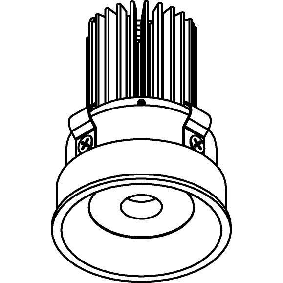 Drawing of E-MINICURVE/.. - Ø60-62 MINI CLICK SYSTEM, inbouwcassette - rond - vast - zonder LED driver
