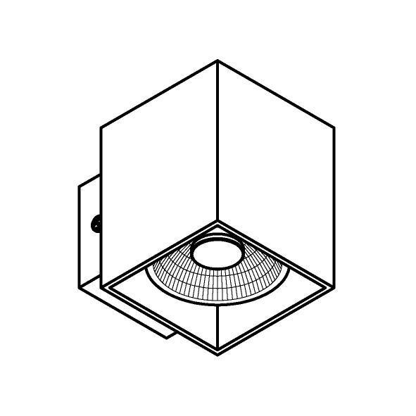 Drawing of W1154/.. - RICHARD - ALU anodised, opbouw wandlicht - vierkant - vast - down