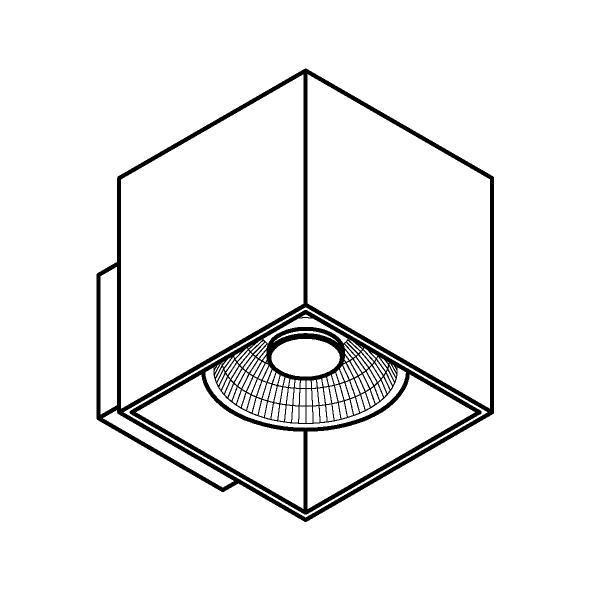Drawing of W1159/.. - RICHARD - ALU anodised, opbouw wandlicht - vierkant - vast - down