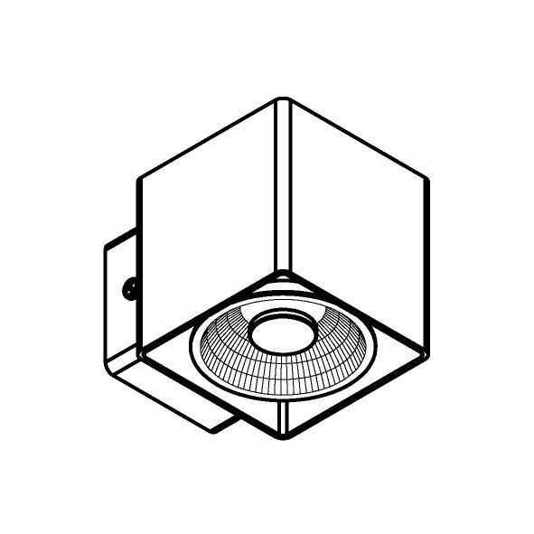 Drawing of W1333/.. - RICHARD - INOX, opbouw wandlicht - vierkant - vast - down