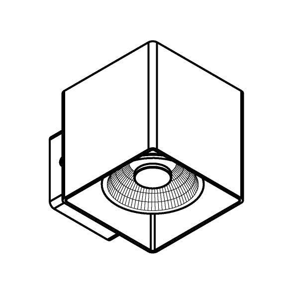 Drawing of W1334/.. - RICHARD - INOX, opbouw wandlicht - vierkant - vast - down