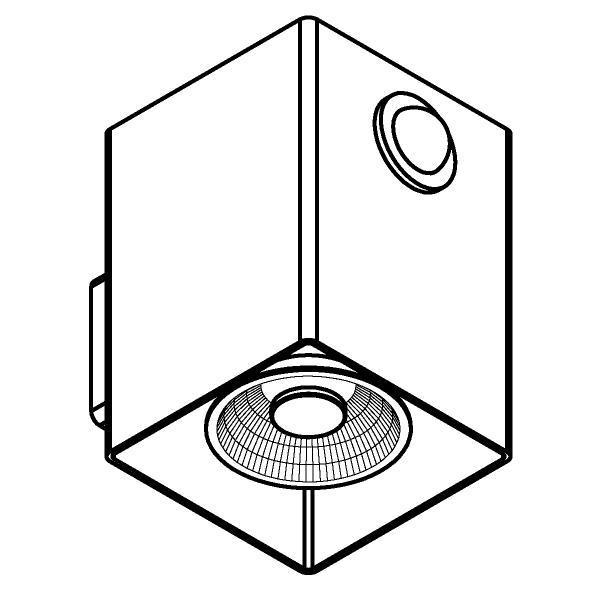 Drawing of W1336/.. - RICHARD - INOX, opbouw wandlicht - vierkant - vast - down - met ingebouwde sensor