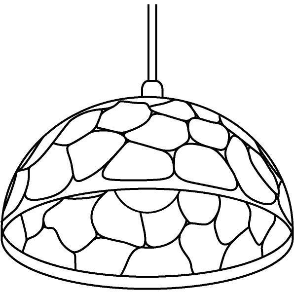 Drawing of 1399/.. - ROCKY, hanglamp - met 1,5m textielkabel en trekontlasting aan fitting