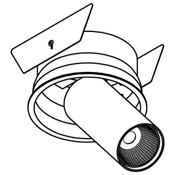 Drawing of 1229.1300.S2/.. - PIVOT XICATO, inbouwspot - rond - richtbaar - zonder LED driver