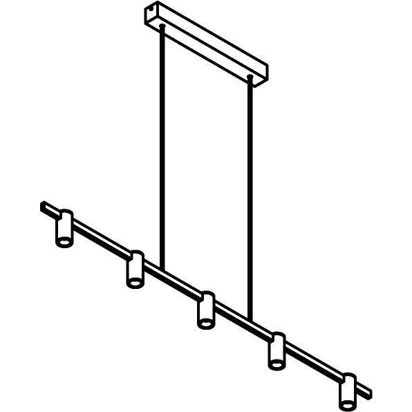 Drawing of 1425/.. - TALLY, hanglamp met bolgewricht - stang inkortbaar - vast - down - met LED driver