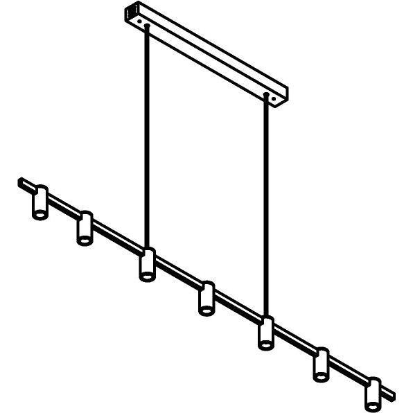 Drawing of 1427/.. - TALLY, hanglamp met bolgewricht - stang inkortbaar - vast - down - met LED driver