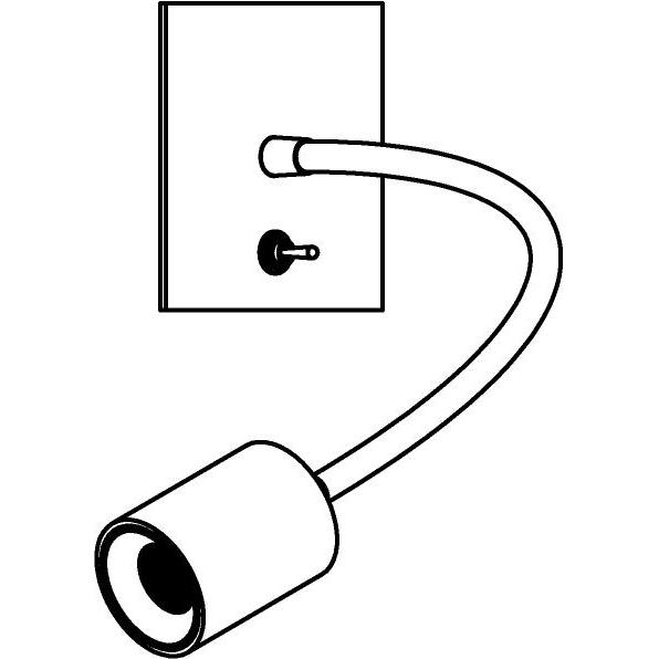 Drawing of 1424.300/.. - FLEX LITTLE JAMES, opbouwspot met flexibele arm - richtbaar - met schakelaar - zonder LED driver