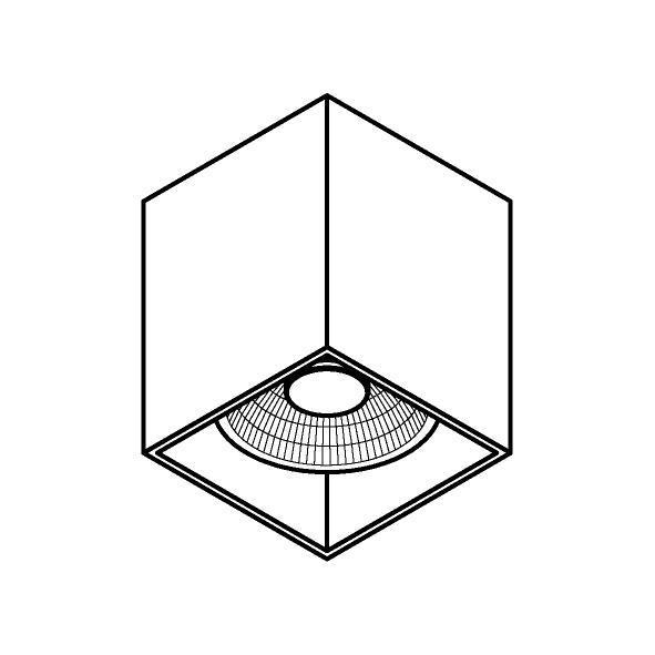 Drawing of 4078/.. - RICHARD ES50, opbouw plafondverlichting - vierkant - vast - down