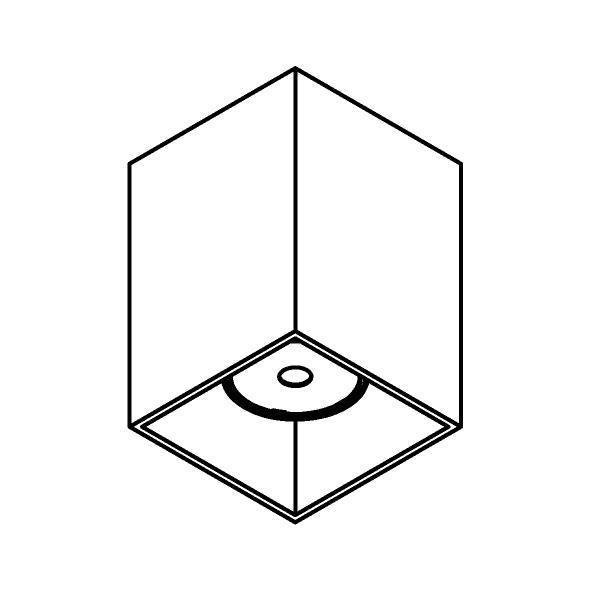 Drawing of 4079/.. - RICHARD SLA, opbouw plafondverlichting - vierkant - vast - down - met LED-module