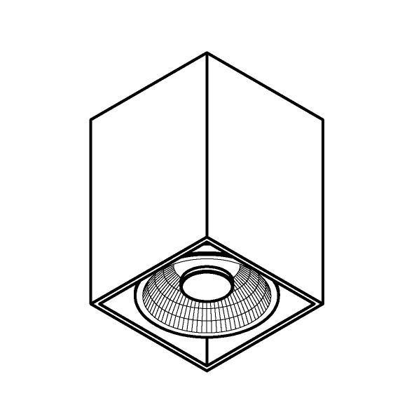 Drawing of W1446/.. - RICHARD - ALU anodised, opbouw plafondverlichting - vierkant - vast