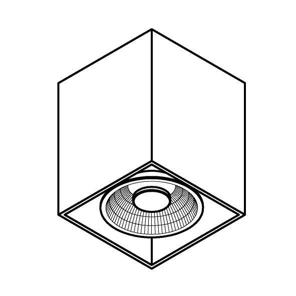 Drawing of W1449/.. - RICHARD - ALU anodised, opbouw plafondverlichting - vierkant - vast