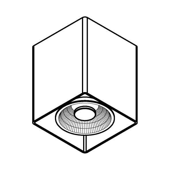 Drawing of W1453/.. - RICHARD - INOX, opbouw plafondverlichting - vierkant - vast