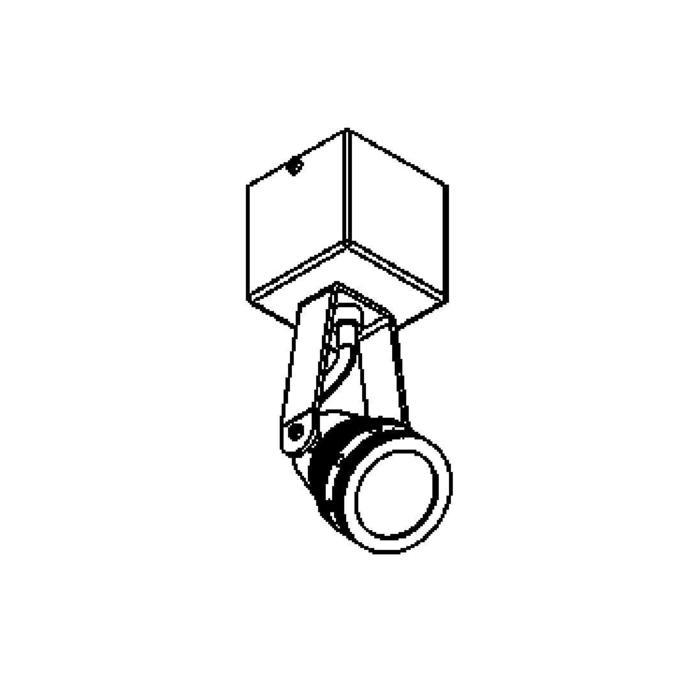 Drawing of W7001/.. - UFO LED, opbouw plafond -of wandlicht - spot op vierkante basis 70x70 - met glas